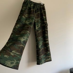 Wide Leg Cotton Camo Drawstring  Pant